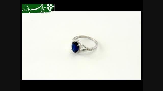 انگشتر نقره نگین آبی درخشان زنانه - کد 6960