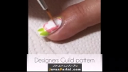 آموزش طراحی و دیزاین ناخن به شکل گل و طرح راه راه