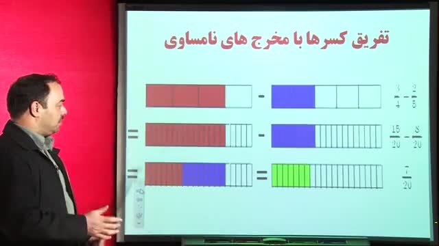 تفریق کسر از ریاضی ششم دبستان-بهمن کاظمی