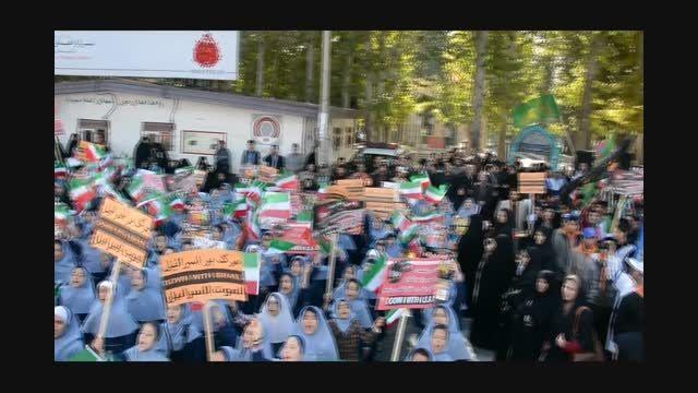 سرود انقلابی دانش آموزان شهریار در مراسم 13 آبان