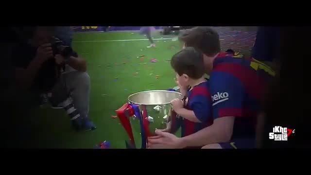 مسی به همراه پسرش (تیاگو) در جشن قهرمانی بارسلونا