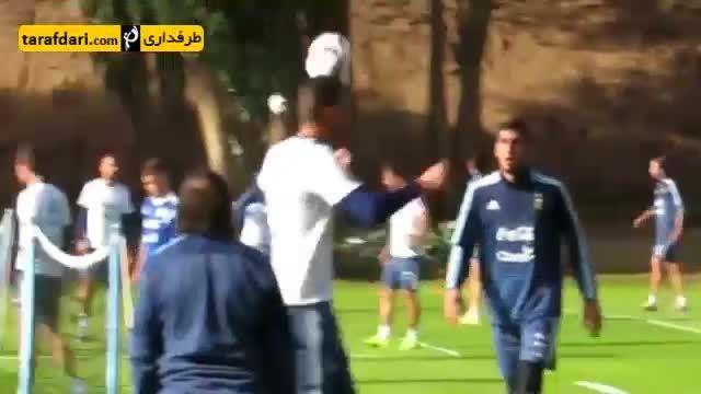 قیچی برگردان زیبای دی ماریادر تمرین فوتبالتنیس آرژانتین