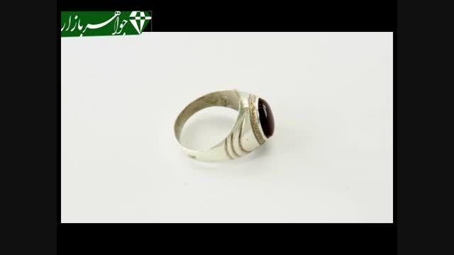 انگشتر عقیق یمن تیره مردانه رکاب دست ساز - کد 6705