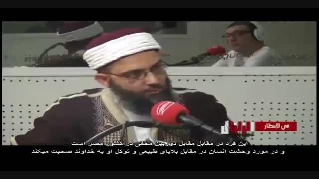 دوربین مخفی در مورد امتحان مرد روحانی  در هنگام زلزله