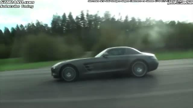 درگ نیسان GTR و مرسدس بنز SLS63 AMG