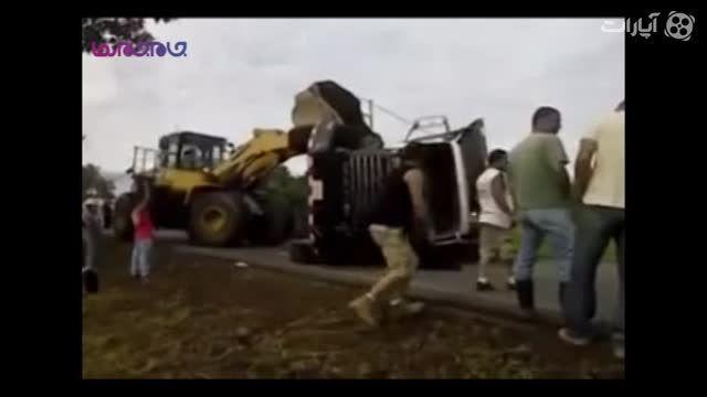 حادثه+کامیون+لودر+فیلم کلیپ جذاب بامزه گلچین صفاسا