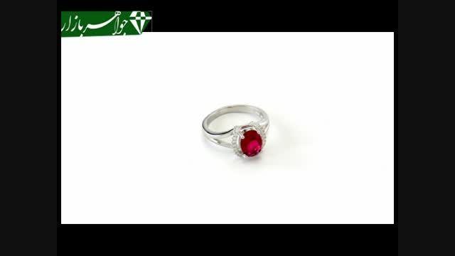 انگشتر نقره نگین سرخ تراش طرح آدرینا زنانه - کد 6871