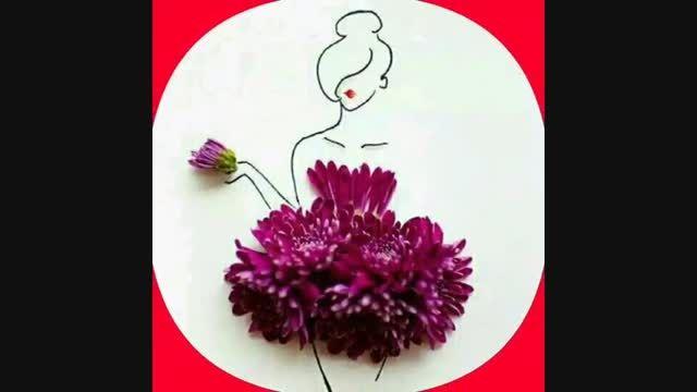 کشیدن نقاشی با گل