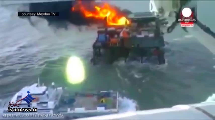 آتش سوزی در سکوی نفتی آذربایجان