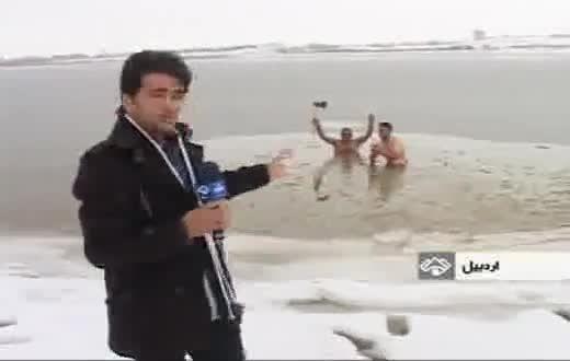 شنا دومرد در دریاچه شورابیل اردبیل در دمای زیر صفر