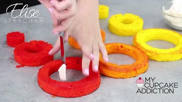 طرز درست کردن کیک رنگارنگ!