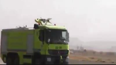 بمباران فرودگاه یمن توسط جنگنده های سعودی