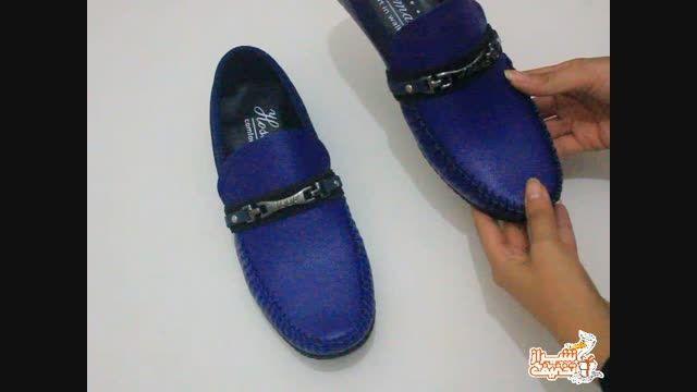 کفش مردانه چرم مصنوعی ابی کاربنی در شیراز تخفیف