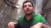 چالش آب یخ آبشار آب مراد در روستای لاسم جاده هراز