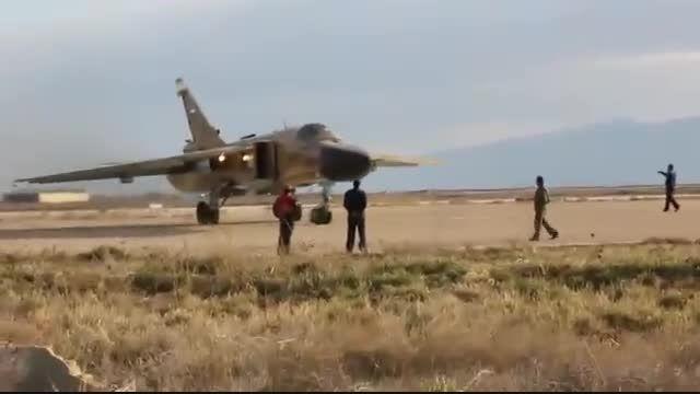 نمایش جنگنده سوخو 24 نیروی هوایی ایران قبل پرواز