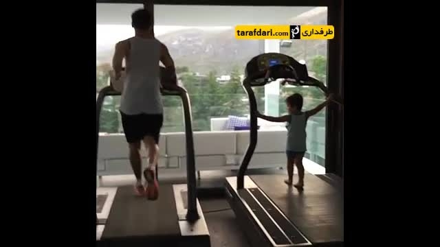 ورزش کردن تیاگو مسی به همراه پدرش
