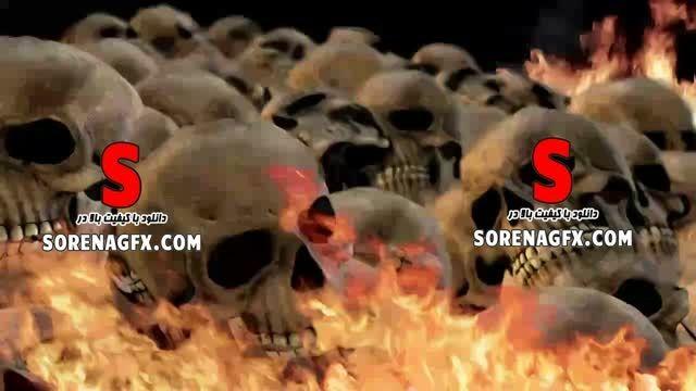 فوتیج با كیفیت جمجمه انسان در آتش