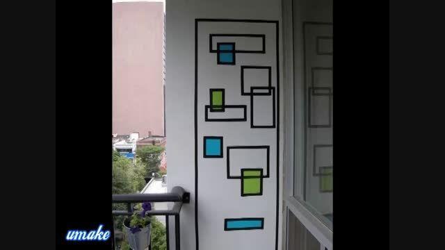 طراحی روی دیوار با چسب لنت