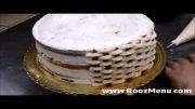 روزمنو - تزئین کیک به شکل سبد گل