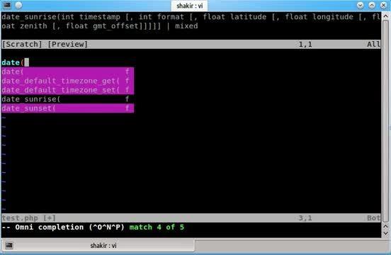 اتوکمپلیت کدهای پی اچ پی در کد ادیتور vim