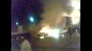 منفجر شدن اتومبیل پژو 207 در حین حركت