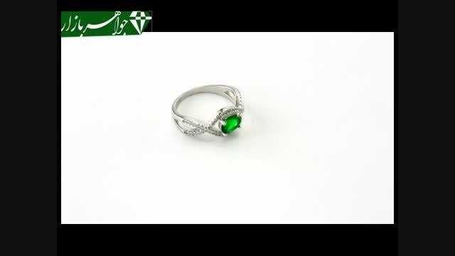 انگشتر نقره نگین سبز خوش رنگ زنانه - کد 6788