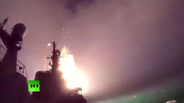 شلیک موشک کروز ارتش روسیه از دریای خزر به داعش در سوریه