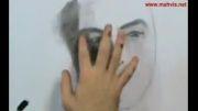 طراحی چهره ذغال و مداد کنته