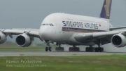 فرود هواپیمای A380 در شرایط وزش باد(سنگاپور)