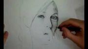 اموزش سیاه قلم- چهره انجلینا جولی