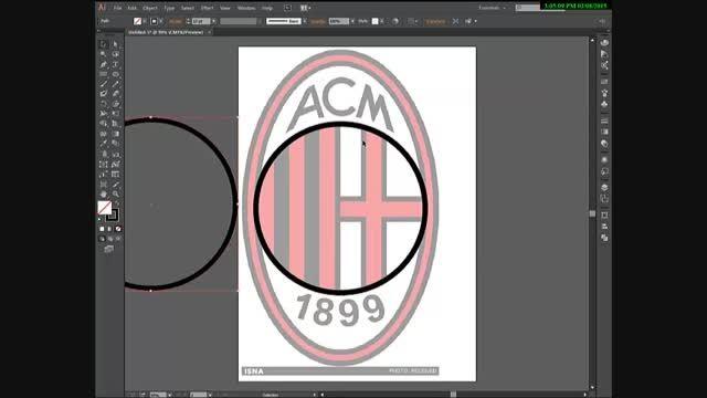 آموزش طراحی لوگوی آث میلان در ادوبی ایلوستریتور