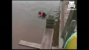 نجات بچه از غرق شده توسط سگ !!