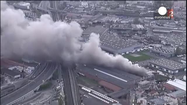وقوع آتش سوزی مهیب در حومه پاریس