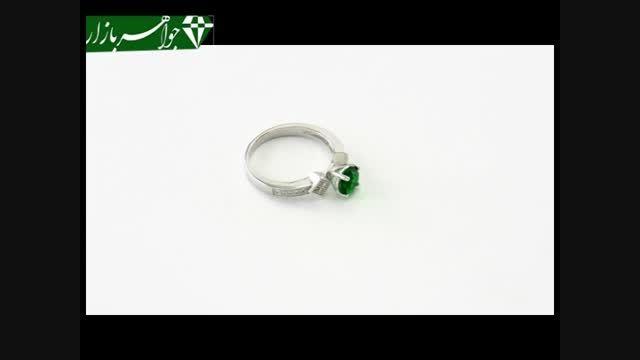 انگشتر نقره نگین تراش سبز زنانه - کد 6778