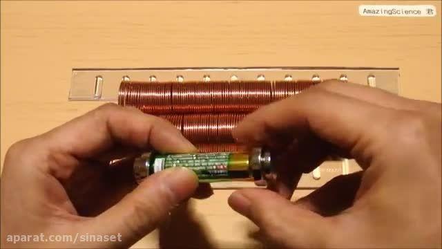 درست کردن قطار با باتری قلمی و اهن ربا!