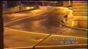 چرخیدن ماشین به دور خود در جاده لغزنده%