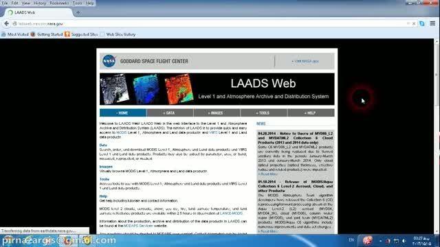 آموزش دانلود تصاویر سنجنده MODIS