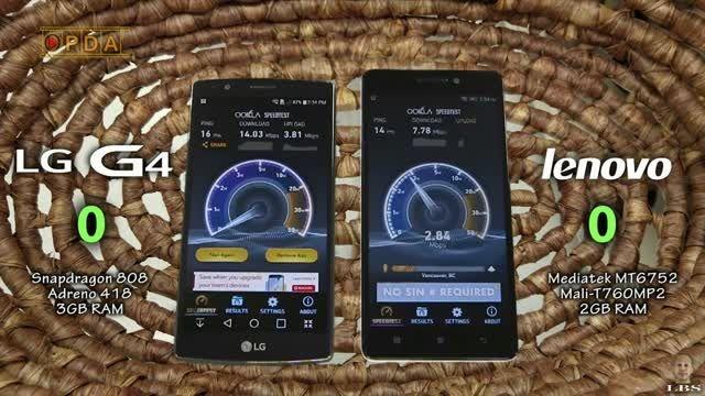 مقایسه ی سرعت Lenvo K3 Note و LG G4