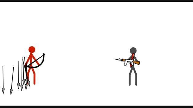 مرد کمان دار علیه مر تفنگ دار (ساخت خودم)