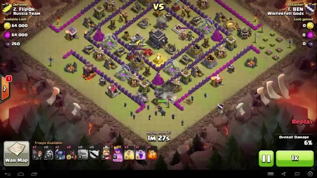 Clash of Clans - TH9 - GoWiPe - War 63 vs Russia Team
