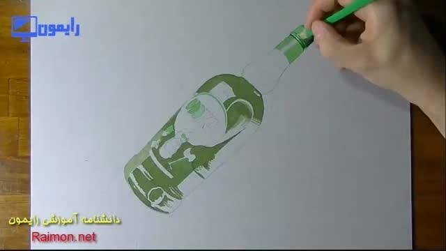 نقاشی سه بعدی زیبا از بطری