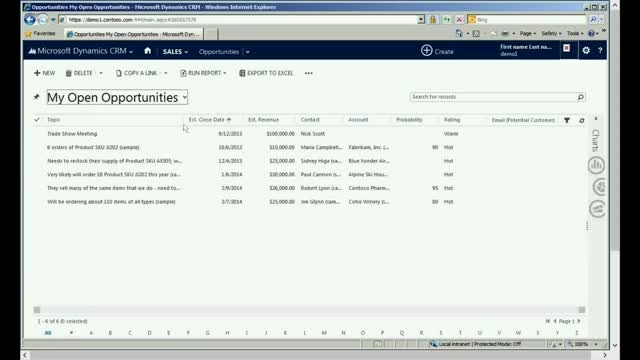 Working with Data  in Microsoft Dynamics CRM 2013
