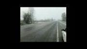 برف بهاری جاده بندر انزلی به آستارا