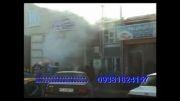 انفجار خودروی پراید در حین تعمیر  در تعمیرگاهای وحدت اردبیل