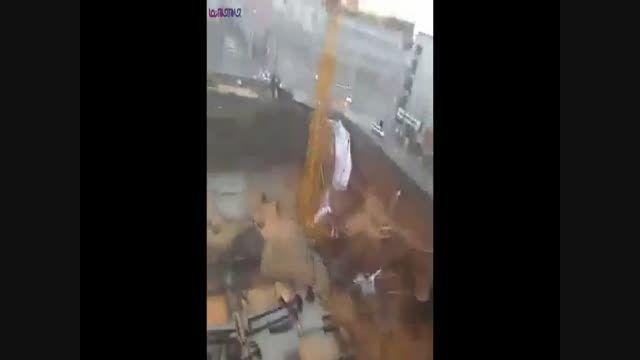 سقوط تاور کرین_افتادن جرثقیل+فیلم ویدیو کلیپ حوادث