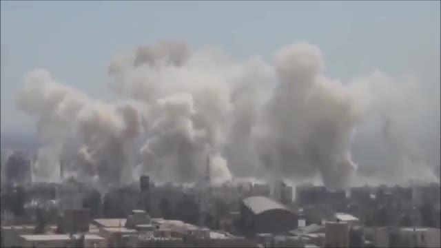 موشک باران مواضع تروریست ها در شهر جوبر