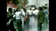 تصادف پراید و تریلی وسط چهار راه و آتش سوزی منجر به سوختن سرنشینان در همدان