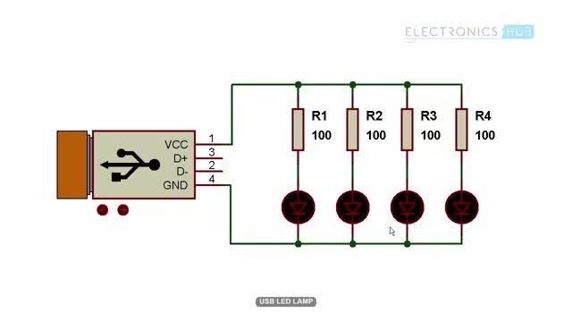 مداری ساده روشن کردن led با usb
