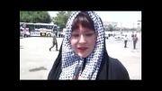 گفتگو با زن آمریکایی در راهپیمایی روز قدس گرگان