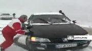 مسافرانی که گرفتار برف شدند